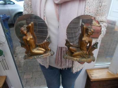 Pretty Pair Bronzed Art Deco Spelter Nude Girl Figures Mirrors Menu Holders