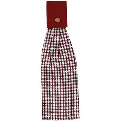 (1) Countryside Red White Black Plaid Woven Cotton Country Kitchen Hand Towel