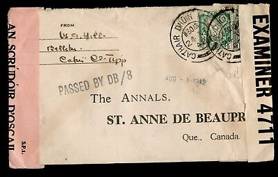 Dr Who 1942 Ireland To Canada Wwii Censored C13500