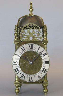 ANTIQUE LANTERN or NELL GWYNN CLOCK two train, striking 8 day movement WORKING