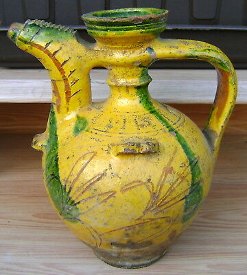 Antique Ottoman Islamic Redware Hand Made Glazed Pottery Pitcher Jug 18-19 C