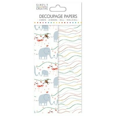 Simply Creative Kids Elephants, Monkeys & Flamingos Decoupage, Decopatch Papers