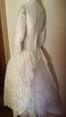 VTG 50s LACE TEA LENGTH GOWN~BRIDAL ~PART TIERED TULLE (Attribute To)EMMA DOMB