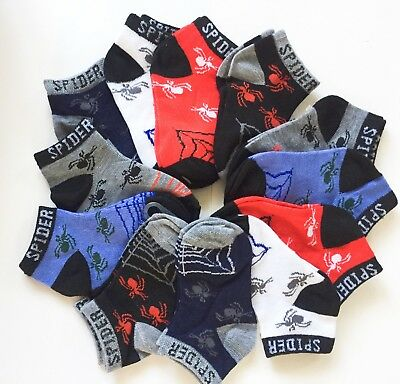 12 Pairs Kids Boys Ankle Sports Socks Cotton Size Age 0-2T 2-4T 4-6T 6-8T(503-4)