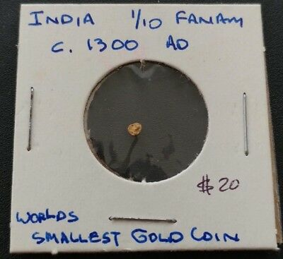 1 - World's smallest GOLD Coin- India  11-13th Century INDIA - 1/10 GOLD FANAM
