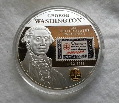 Beautiful 5 oz Silver Layered George Washington Commemorative Coin