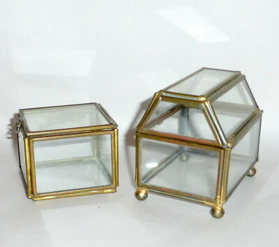 Two Vintage Brass & Glass Jewelry Trinket Small Hinged Boxes Display Cases