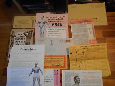 CHARLES ATLAS muscle bodybuilding advertisements & booklet with ENVELOPE 1960's
