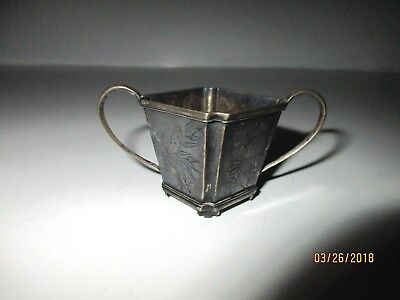 Antique Chinese Export Silver Miniature Container w/feet & Handles Marked 1920's