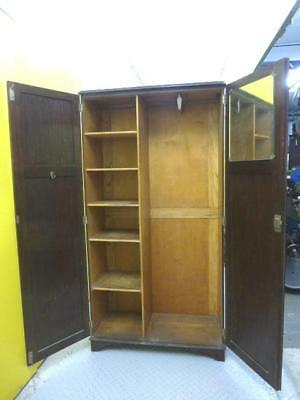 Vintage OAK WARDROBE with Shelves and Retractable Hanging Rail - VGC