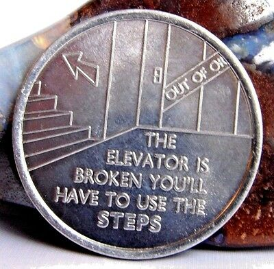 Alcoholics Anonymous AA NA Use The Steps Aluminum Medallion Coin Chip Token
