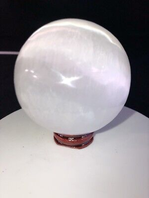 "2.7"" Spheres Ball 🏀 Selenite Natural Crystal Quartz Healing W/ Wood Base"