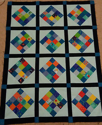 Handmade baby boy quilt blues and primary colours