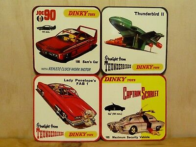 Drink Coaster Set Of 4 - Dinky Toys Joe 90, Captain Scarlet, Thunderbirds