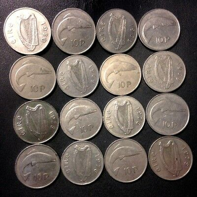 Old Ireland Coin Lot - 10 PENCE - 16 Older Large Type Coins - Lot #A12