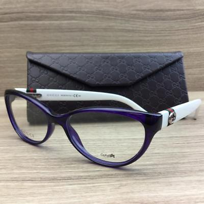 08940734e31 GUCCI EYE GLASSES White Gold Clear Brown GG 3714 Vintage Japan Auth ...