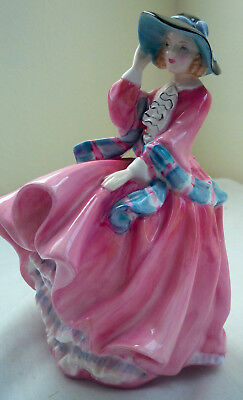 """Vintage Royal Doulton """"Top of The Hill"""" Pink Dress Lady with Hat Figurine Statue"""