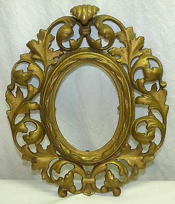 "Antique Ornate Cast Brass Leaf Rococo 9.5 x 11"" Oval Picture Frame Fits 4 x 5.5"