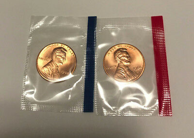 1984 P D Lincoln Cent BU in US Mint Cello - 2 Coin Uncirculated Penny Set