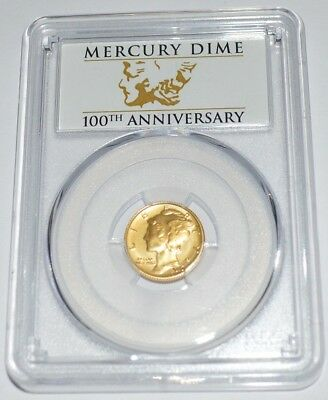2016-W First Strike Gold 100Th Anniv. Mercury Dime Sp69 Pcgs