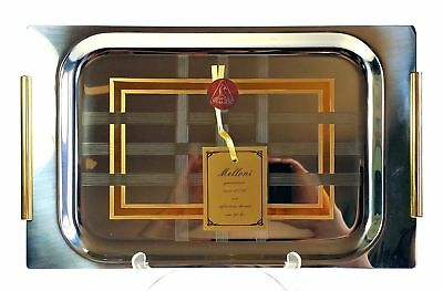 Melloni Inox 18 / 10 Stainless w 24kt Gold Inlay Serving Tray NIB	Italy
