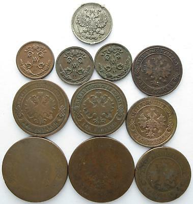 No reserve! Russian Empire older Kopeks coin lot, 1870's to 1910's