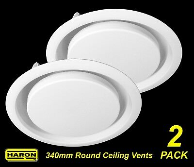 2 x Ceiling Mount Round Air Vent / Grille with Flyscreen Snap-In 340mm diameter
