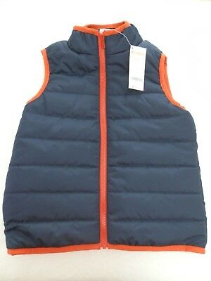 NEW! Gymboree Boys Quilted Puffer Vest size 7/8 or 10/12 Navy Blue Orange Trim