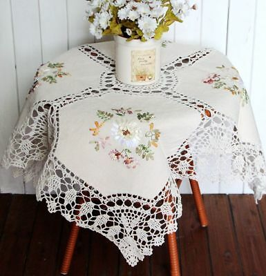 Clearance Pretty Hand Crochet Silk Flower Embroidery Cotton Linen Table Cloth