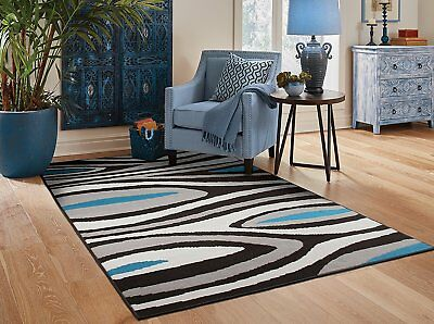 Area Rugs 8x10 Gray Rugs For Living Room 5x7 Black Modern Carpet 8x11 Wavy  2u0027