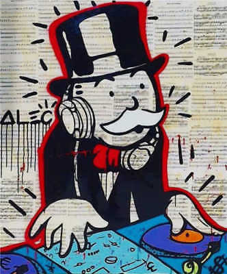 Alec-Monopoly  Hand-Painted Oil Painting art graffiti canvas The DJ 24x36