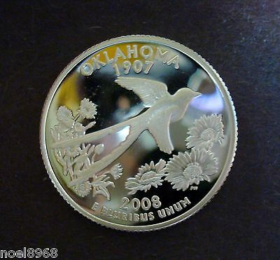 """2008-S Silver Proof """"oklahoma"""" State Quarter  Beautiful Frosted Ultra Cameo A-11"""