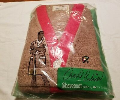 Arnold Palmer Shave Coat Weldon Size M Brown & Red Robe Vintage 60s Terry NEW