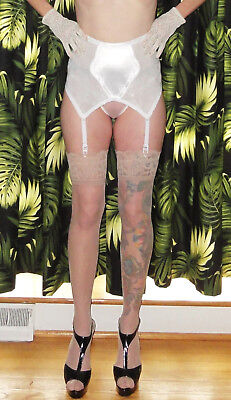 Vintage White Girdle Skirt Garters & Stocking Set 2XL pinup clothing girl retro
