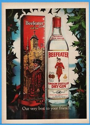 1976 Beefeater London Distilled Dry Gin Bottle Christmas Gift Box Photo Print Ad