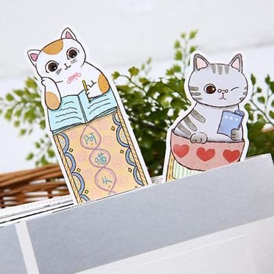 30pcs Cute Funny Cat Shaped Paper Bookmark Stationery Film Bookmarks Gifts