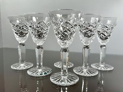 6 Vintage Waterford Crystal Tyrone Sherry Cordial Liqueur Stem Glasses #604-582