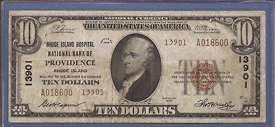 CH 13901,1929 T-2 $10 National Currency,RI Hospital NB of Providence RI,VF,Nice!