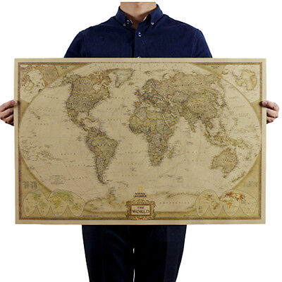 Vintage Retro World Map Antique Paper Poster Wall Chart Home Deco Wallpaper