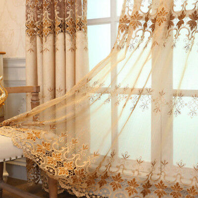 Living Room Bedroom Curtain Shiny European Luxury Lace Sheer Fabric Cloth 1Piece