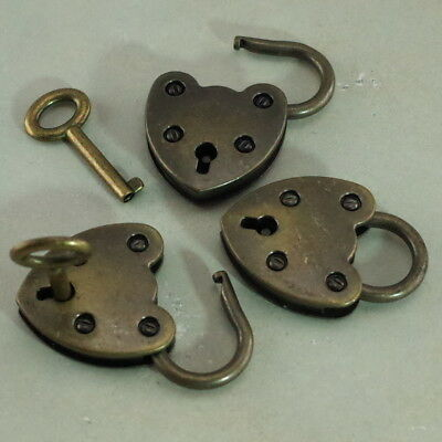 Old Vintage Antique Style Mini Padlock With Key- Antique Brass Color (Set of 3)