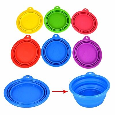 Pet Dog Cat Collapsible Fold-up Camp Travel Food Feeding Bowl Water Dish Feeder