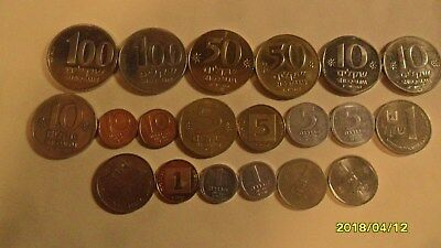 20 piece lot of Israel coins Uncirculated, 100-50-10-5 1-& 1/2 Denomination