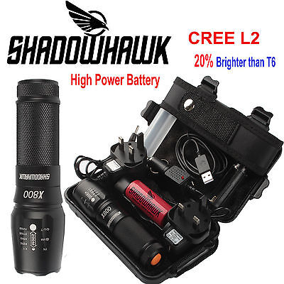 20000lm Genuine Shadowhawk X800 Flashlight XML L2 LED Zoom Military Torch Light