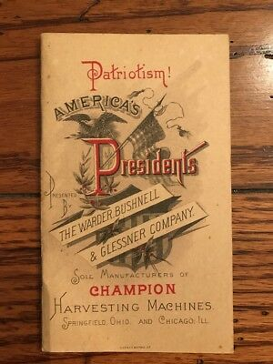 Antique 1890's Champion Harvesting Machines Warder Bushnell Company Booklet Rare
