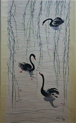 Excellent Chinese 100% Hand Painting & Scroll Geese By Wu Guanzhong 吴冠中 天鹅湖 CDMA