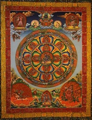 "Amazing Large Old Nepal Hand-painted Thangka ""Mandala of Four-armed Mahakala"""