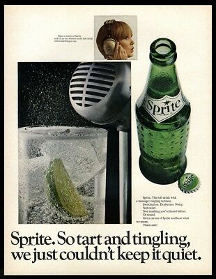 1967 Ads - Two SPRITE Soda VINTAGE ADS - Microphone & Telephone