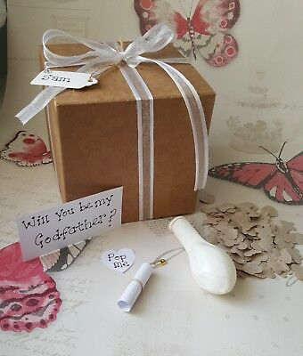 Will you be my Godparents? pop the question, balloon in box, christening, new