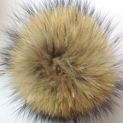 Large Faux Raccoon Fur Pom Pom Ball with Press Button for Knitting Hat DIY Craft